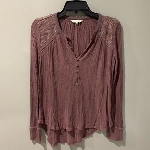 Lucky Brand Ribbed Henley with Embroidery Small